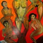 Traum 1995 (Acryl auf Sperrholz, 250 x121 cm)