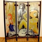 Paravent 1998 (Dickglas Eiche, dreiteilig, 175x153 cm)