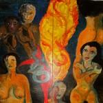 Die Nacht 1998 (Acryl auf Sperrholz 120x120 cm, dreiteilig, Außenseite von Erwachen)