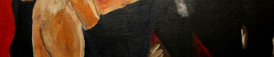 Alter Mann und Mädchen 1995 (Acryl auf Sperrholz 70x110 cm)