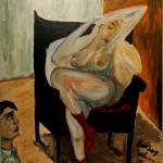 Der Voyeur 1995 (Acryl auf Sperrholz 77x70 cm)