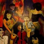 Straßenmusikanten 1990 (Acryl auf Sperrholz 220x120 cm)