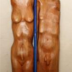 Adam und Eva (Holz, Glas,Metall 68x169x17 cm)